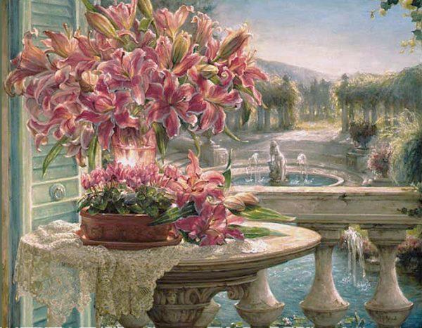 Grand bouquet de lys roses sur une terrasse