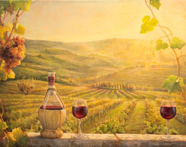 Une Vigne au coucher du soleil