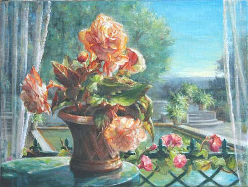Begonias with a view of a garden