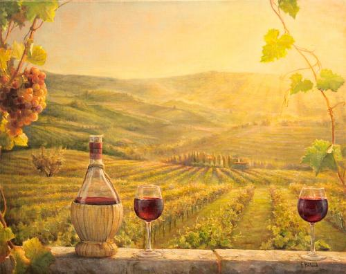 A Vineyard at Sunset